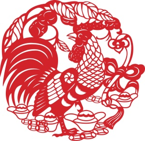 fancy rooster papercut